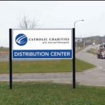 Catholic Charities Distribution Center sign
