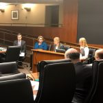 Medical Respite Supervisor Jessica Hancock-Allen testifies in front of a House committee